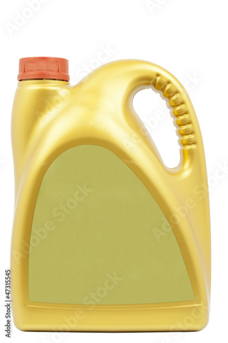 Engine oil can of gold color on a white background