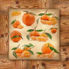 Tangerine fruits on yellow paper and wooden background