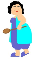 A grouchy grandmother with her wooden spoon
