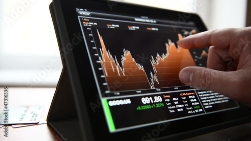 Business stocks and quotes on tablet pc