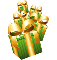 Green gifts with large golden bows falling.