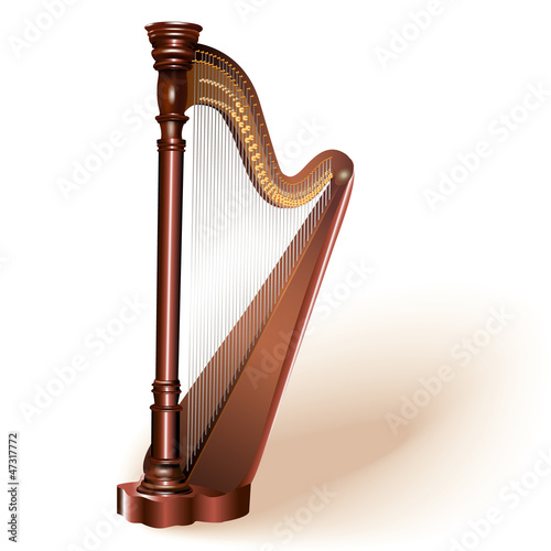 Classical concert harp. Fully editable vector