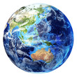 Earth globe, realistic 3 D rendering, with some clouds. Oceania