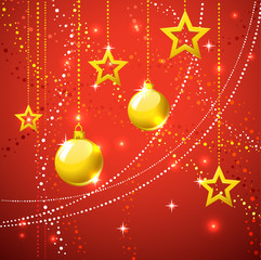 Gold stars  and christmas balls holiday background.