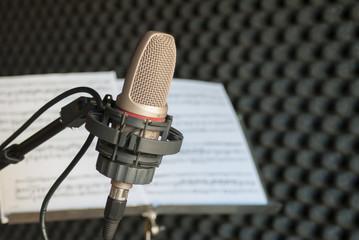 Micrófono y partitura