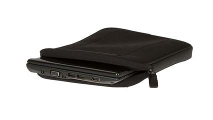 Black notebook bag close-up
