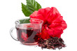 Red flower and hibiscus hot tea