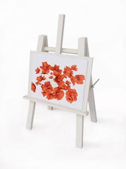 Wooden Easel with Poppies