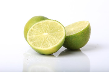 Fresh lime and slice, Isolated