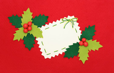 Christmas card: empty  blank and holly on red background