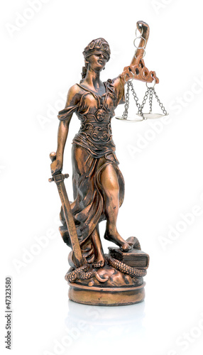 statue of justice on a white background