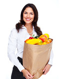 Young woman with a grocery bag.