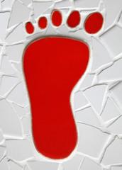 roter Fußabdruck