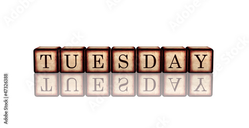 tuesday in 3d wooden cubes banner
