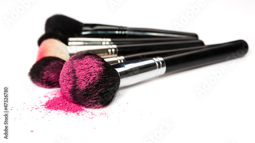 Leinwandbild Motiv Makeup brushes and cosmetic powder