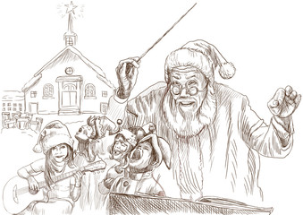 Santa Claus as conductor of the choir of Elves - drawing