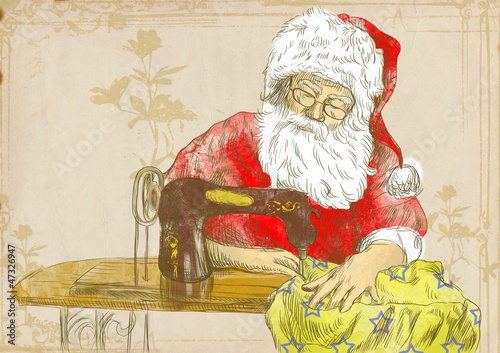 Santa Claus as a tailor  - full sized hand drawing