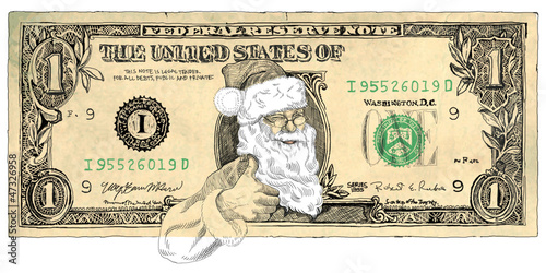 One Dollar Santa - hand drawing