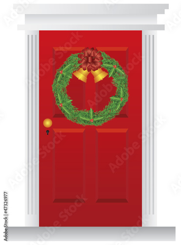 Christmas Wreath Hanging on Red Door Illustration