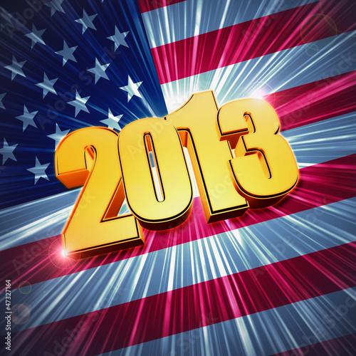 golden figures year 2013 over shining american flag