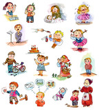 Funny kids on a white background. Child s picture book