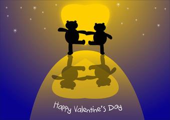 Orsetti sotto la luna San Valentino vector