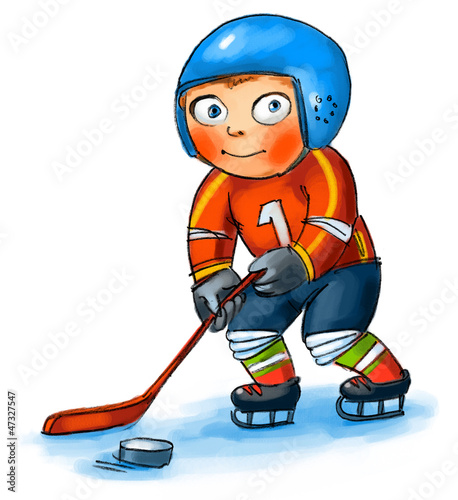 Boy playing hockey. Hand-drawn