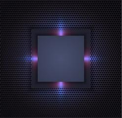 Futuristic frame on metal grid background. EPS10, RGB.