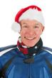 Portrait motor biker as Santa Claus