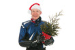 Portrait motor biker with Christmas tree