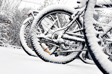 Bike wheel in winter