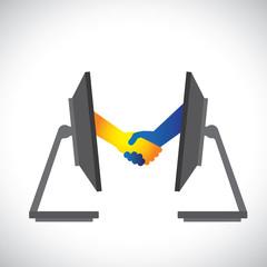 Concept illustration of internet deals, partnerships, business,