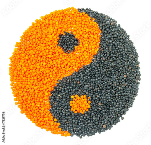 Orange and Black Lentil forming a yin yang symbol