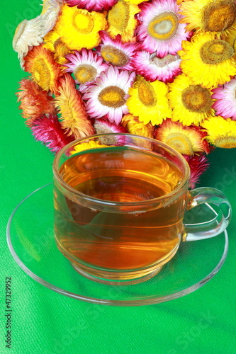 Paper flower with hot tea
