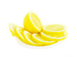 Fresh lemon fruit sliced on white background