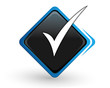 icône validé sur bouton carré bleu design
