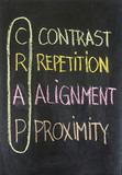 contrast, repetition, alignment and proximity - CRAP poster