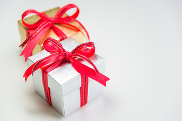 silver and gold small gift box in depth