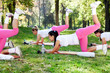 Girls workout in nature