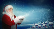 Santa Claus blowing snow to little town - 47334164