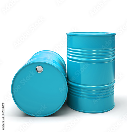Blue Metal barrels isolated on white background illustration