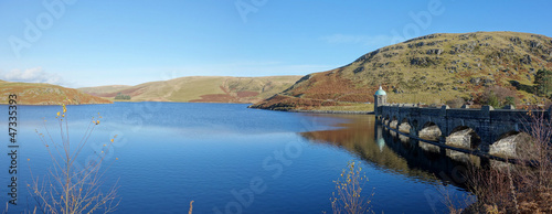 Leinwanddruck Bild Craig Goch reservoir and dam panorama, Elan Valley Wales.