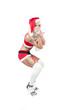 canvas print picture - sexy frau als weihnachtsfrau mit high heels und geschenk