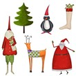 Set of decorative Christmas elements