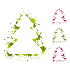 Set of Christmas trees backgrounds with splashes