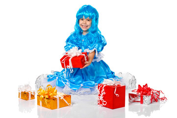 pretty girl dressed like Malvina, doll with the blue hair. Gifts
