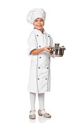 little pretty girl chef holding a pot