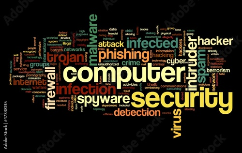 Computer security concept in tag cloud