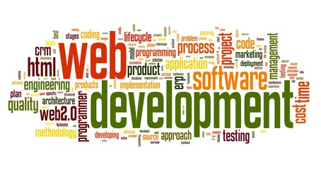 Web development concept in word tag cloud