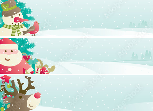 christmas banner  with Santa, snowman, Reindee and decoration